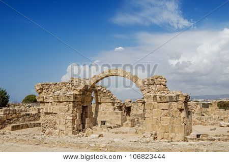 Saranta Kolones at Paphos Archaeological Park, Cyprus. The Byzantine castle built at the end of the 7th century AD.