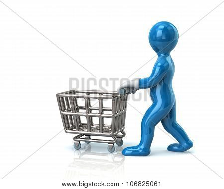 Blue Man Pushing An Empty Shopping Cart