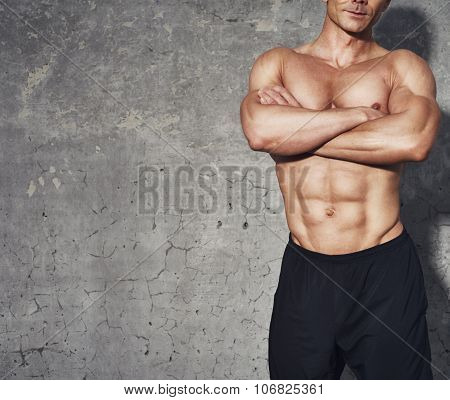 Fitness Portrait Half Body Six Pack No Shirt