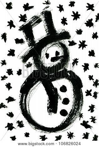 Watercolor Rough Draft Of Snowman