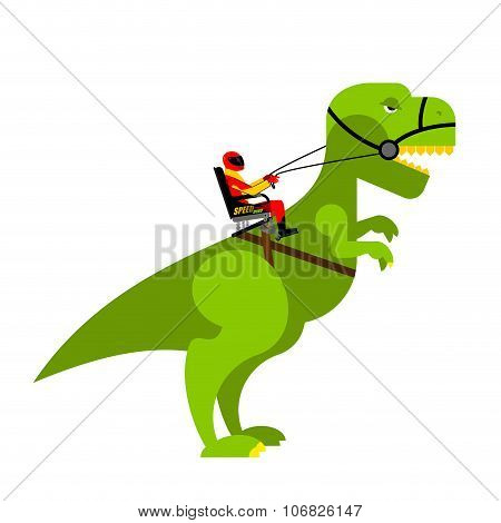 Dinosaur Rider. Man Sits On Back Of Huge Wild Raptor. Teamster Dragons. Racer On Evil Toothy Monster