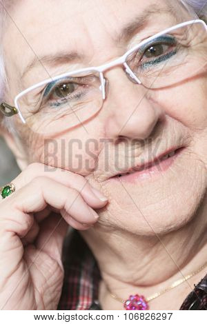 A Portrait of a happy senior woman at home