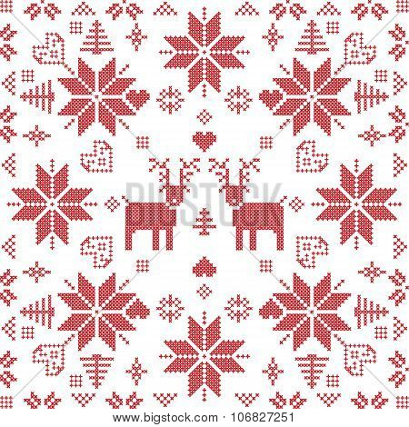 Scandinavian style Nordic winter stitch, knitting seamless pattern in the square shape
