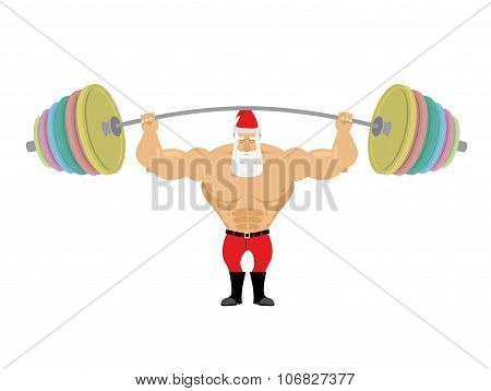 Santa Claus And Barbell. Bench Press Barbell Above His Head. Exercises For Shoulders. Strong Powerfu