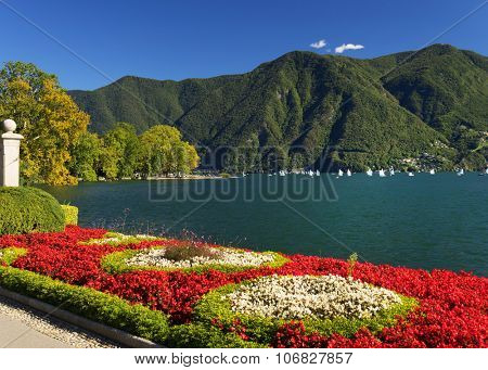 Lugano Lake in Switzerland, Europe