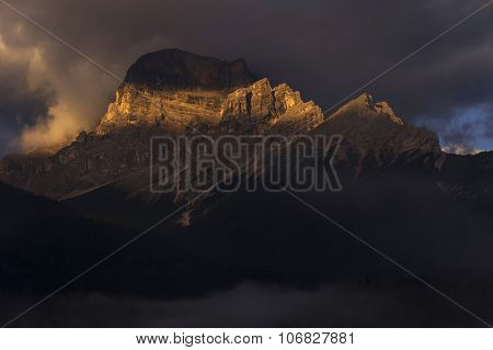 Sunset landscape in the Dolomites, Italy, Europe