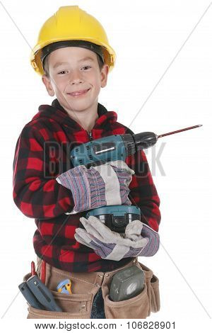 Young boy pretending to be a carpenter