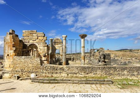 Volubilis is a partly excavated Roman city in Morocco situated near Meknes between Fes and Rabat. It was developed from the 3rd century BC onwards as a Phoenician Carthaginian settlement