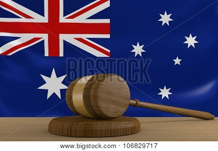 Australia law and justice system with national flag