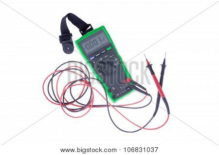 Green Voltometer On White Background