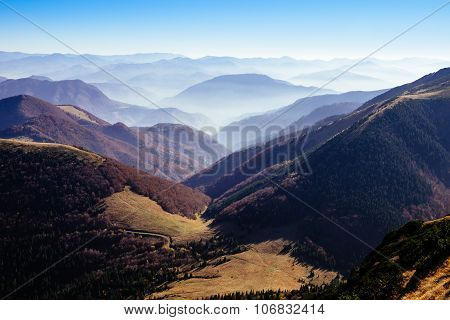 Scenic View Of Misty Autumn Hills And Mountains, Slovakia