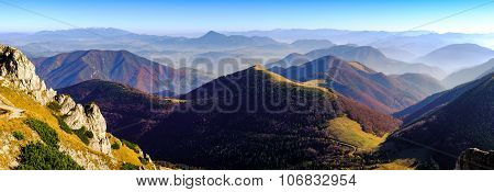 Panoramic Landscape View Of Beautiful Autumn Mountains, Slovakia