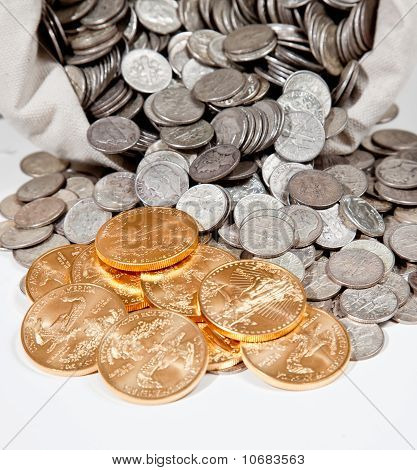 Bag Of Silver And Gold Coins