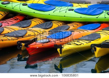 Bright Colors Sport Kayaks Alaska Marine Harbor