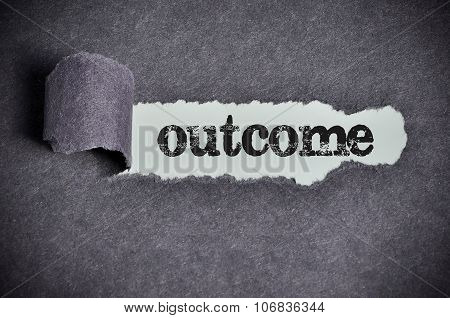 Outcome Word Under Torn Black Sugar Paper