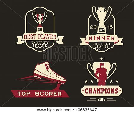 American football badge with winner cup, sport logo, label, insignia set in retro color style. Graph