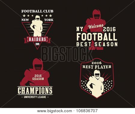 American football player, team badges, championship logos, labels, insignias in retro color style. G