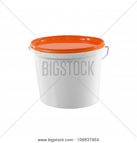 White Plastic Painter Container - Mockup With Clipping Path