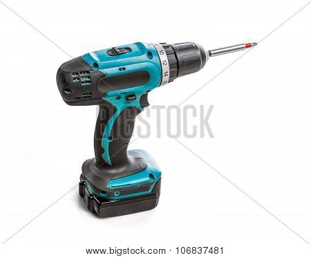 Cordless Screwdriver Or Drill Isolated On White Background With Clipping Path