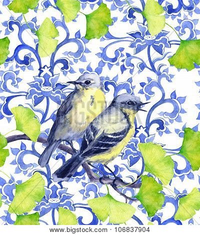 Birds and asian design. Seamless watercolor ornament