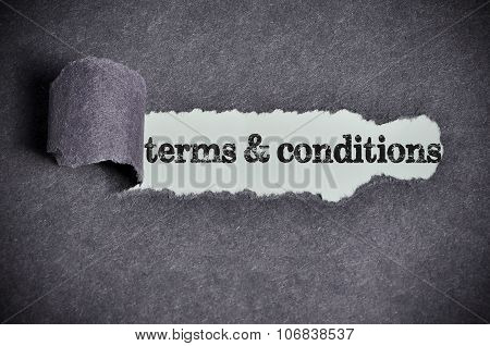 Terms & Conditions Word Under Torn Black Sugar Paper