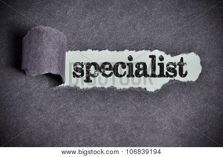 Specialist Word Under Torn Black Sugar Paper
