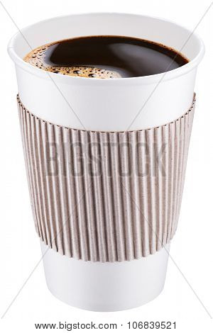 White plastic cup of coffee. File contains clipping paths.