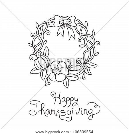Doodle Thanksgiving Wreath Freehand Vector Drawing Isolated