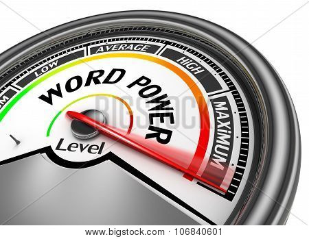 Word Power Level Conceptual Meter Indicate Maximum