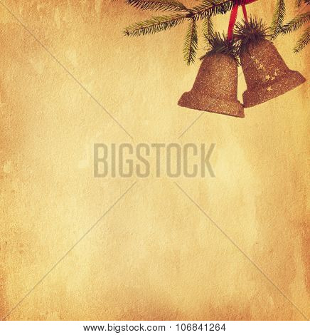 Vintage paper texture with two bells