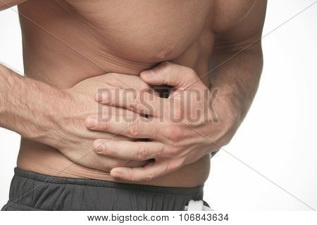 men holding hands on his stomach