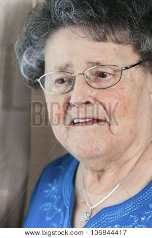 A lonely 90 years old grandmother in is apartment