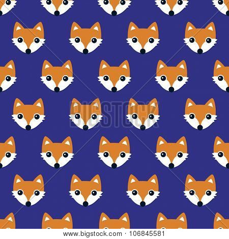 Seamless orange foxes cute kids woodland fox theme blue night gender neutral illustration background pattern in vector