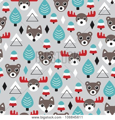 Seamless retro woodland animals grizzly bear fox and moose reindeer illustration christmas winter theme background pattern in vector