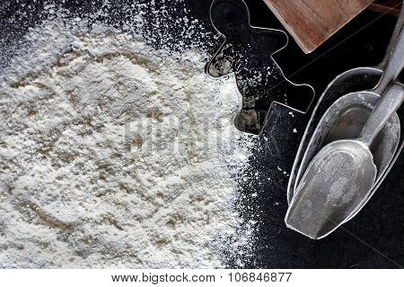 White Baking Flour Background With Baking Supplies Border