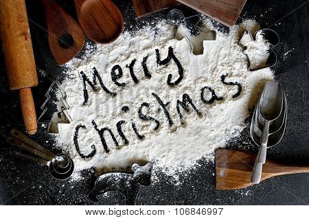 Words Merry Christmas Background Bordered By Vintage Baking Supplies