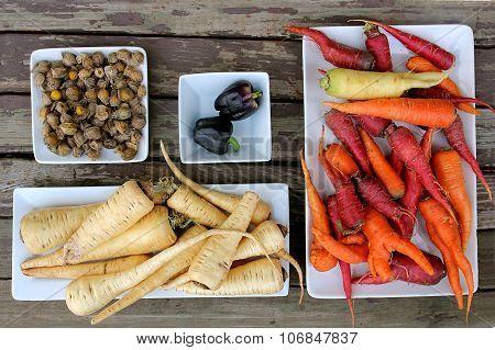 Organic Farm Vegetable Feast Display On Wood Table