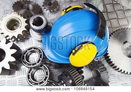 hardhat, helmet with cogwheels, ball-bearings and tools
