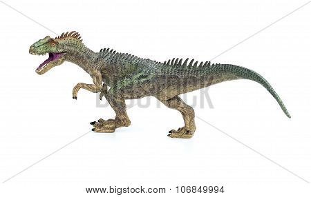 Allosaurus Toy On A White Background