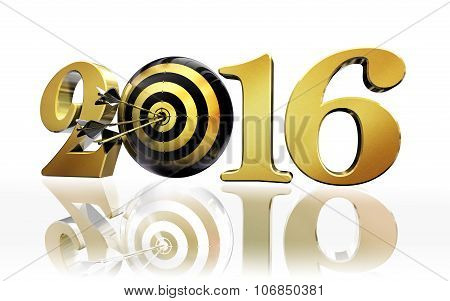 New Year Target Golden Number 2016 Concept On White Background