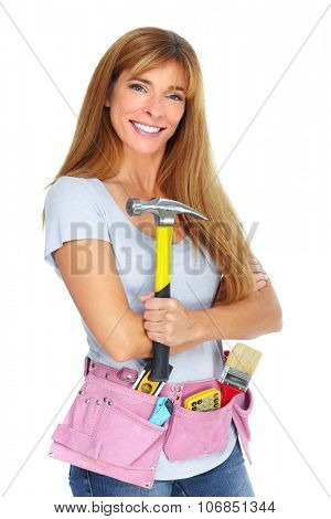 Woman with a hammer. Isolated white background.