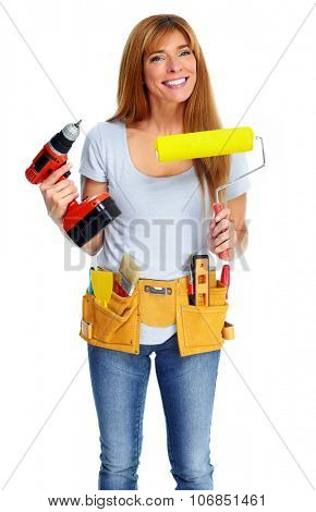 Woman with drill and paint roller. Isolated white background.