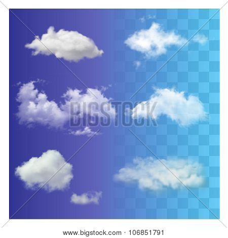 Set Of Very Realistic Different Transparent White Sky Clouds.