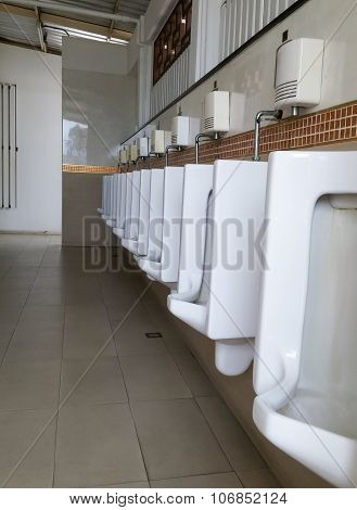 White Urinals Row