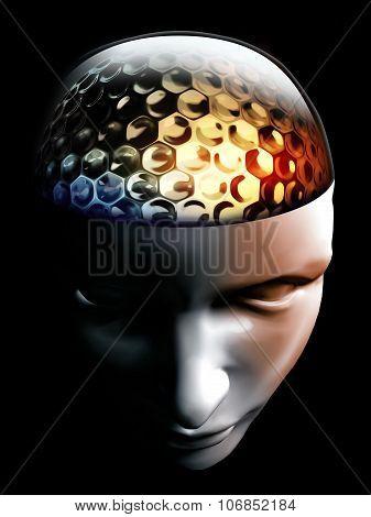 Golf Ball Idea In Human Brain And Head