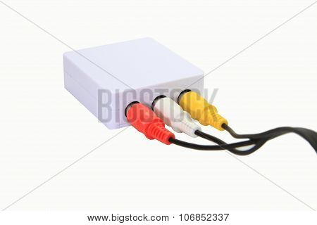 AV connector box on white background