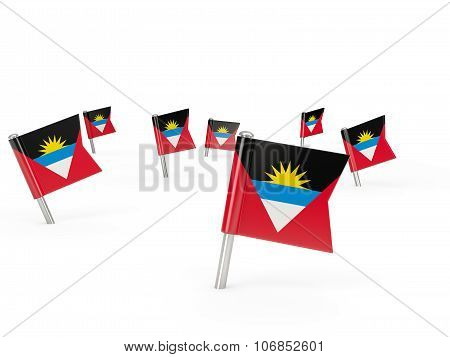 Square Pins With Flag Of Antigua And Barbuda