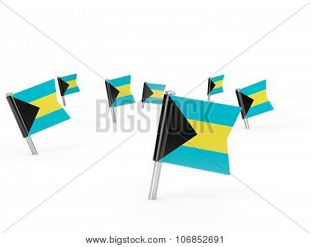 Square Pins With Flag Of Bahamas