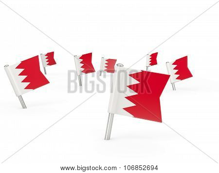 Square Pins With Flag Of Bahrain