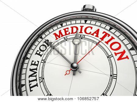 Medication Time Red Word On Conceptual Clock